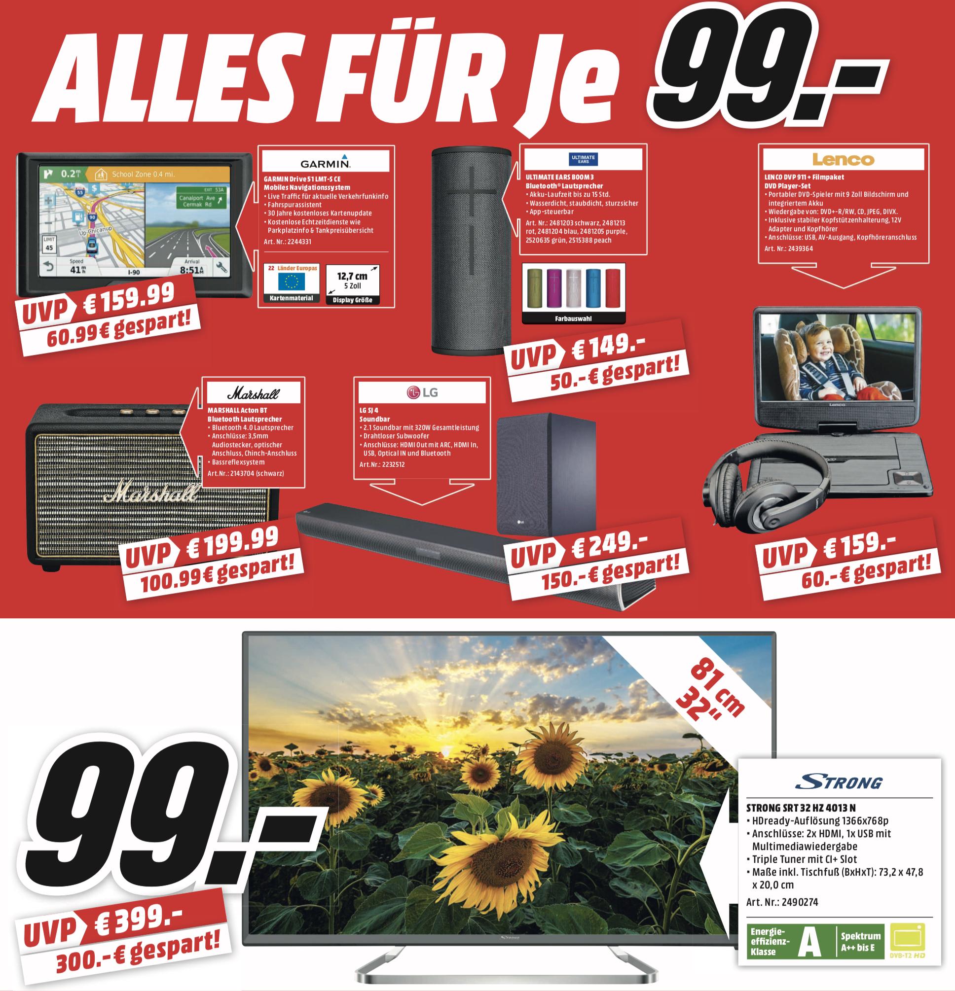 Lokal MediaMarkt Dortmund: Alles 99€ - z.B. LG SJ4 Soundbar o. Marshall Acton BT Bluetooth Lautsprecher o. Strong 32 Zoll LCD-TV je 99€