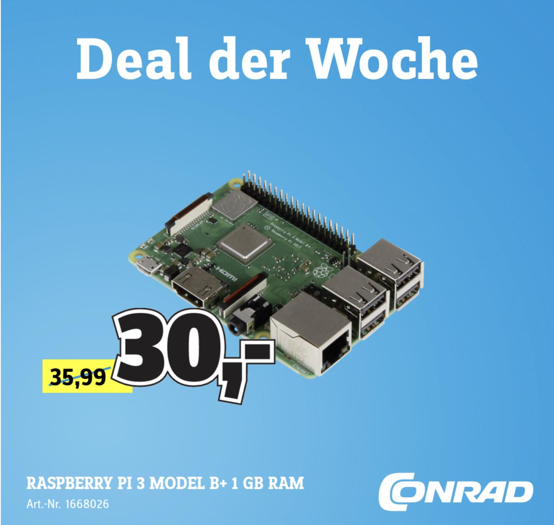 Lokal Conrad Hamburg: Raspberry Pi 3 Model B+ 1.4 GHz für 24,45€