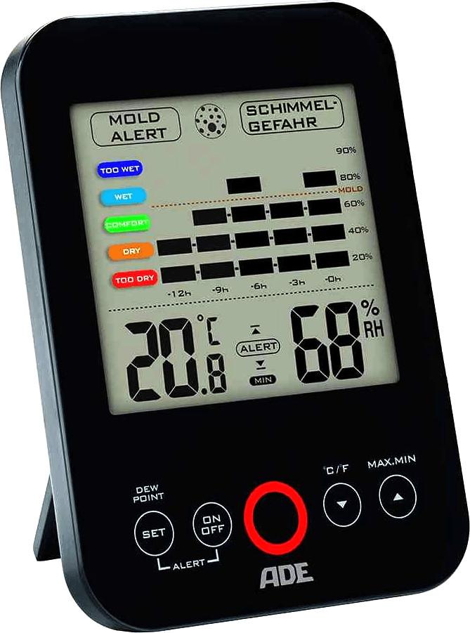 Hygrometer ADE WS 1501 (Luftfeuchtigkeit mit 12 Stunden-Verlauf, visueller Schimmelalarm, Temperaturanzeige, 2x AAA-Batterien)