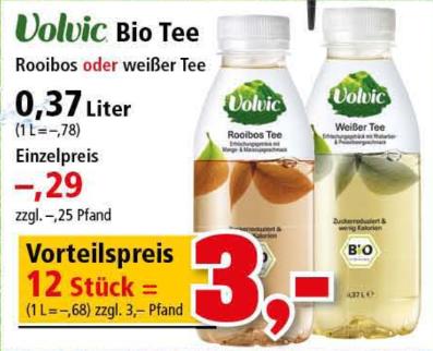 12x Volvic Bio Tee Rooibos oder Weißer Tee 0,37l für 3,00€ [Thomas Philipps ab 15.07.19]