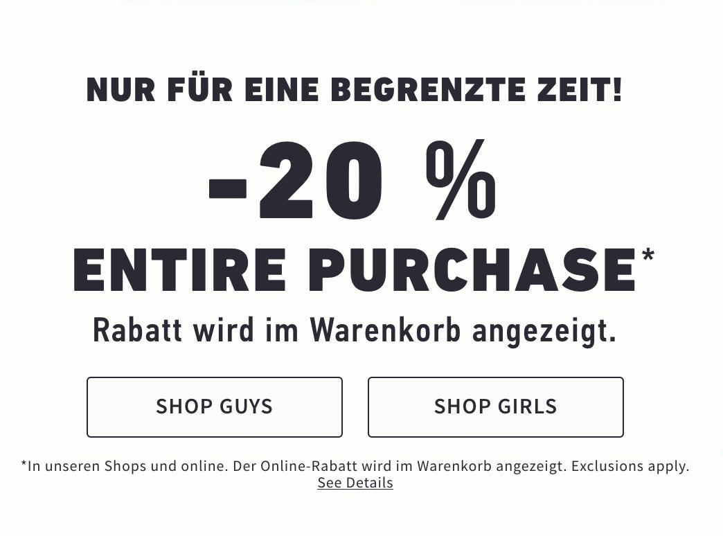 -20% auf alle Hollister Bestellungen