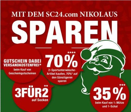 SC24.com verschiedene Nikolausdeals, zb Prozente auf Sportunterwäsche