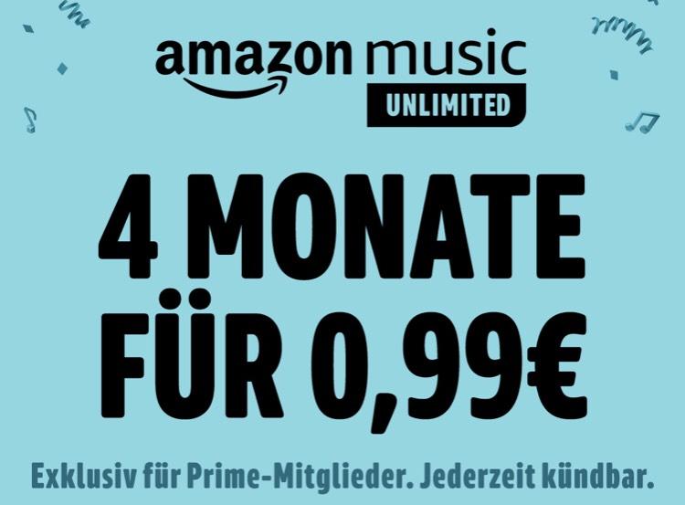 Amazon Music Unlimited Neukunden | 4 Monate für 0,99€