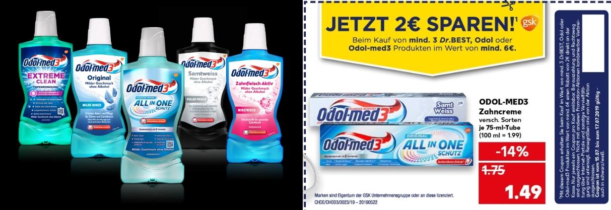 Kaufland: 2x Odol Med3 Mundspülung +1x 125iger Zahnpasta mit Coupon für 4,29€  (ergo:  2x 1,65€  +  1x 99ct.)   -  32% Rabatt