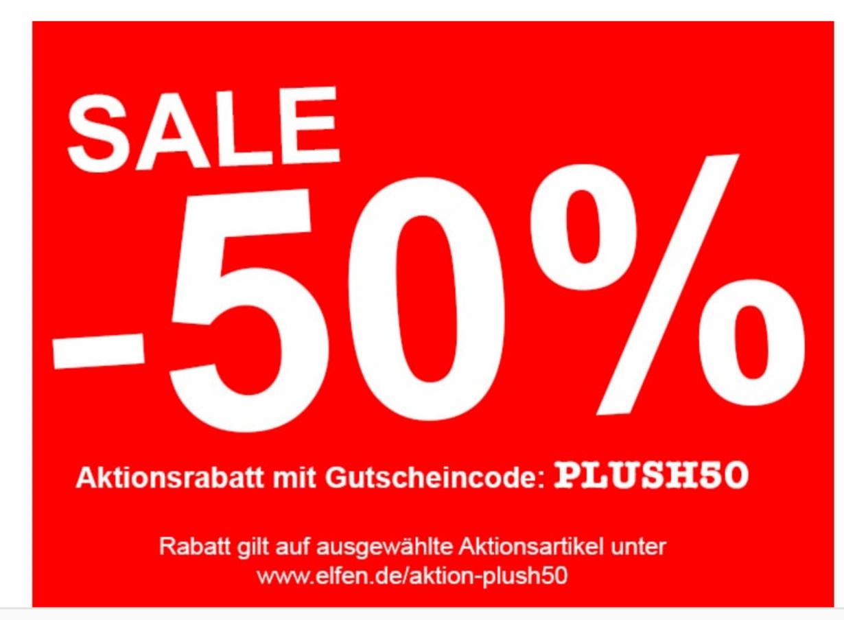 50% Rabatt aus ausgewählte Snoopy, Pummeleinhorn, Ruthe Plüschi-Produkte [elfen.de]
