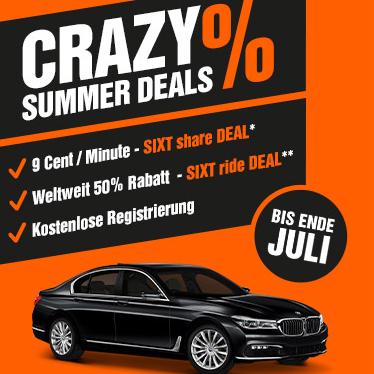 Crazy Summer bei SIXT share: alle Fahrten je 0,09€ / Min. bis Ende Juli in B, M und HH