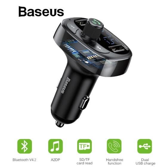 Baseus 3.4A Dual USB Car Charger FM Transmitter Aux Modulator Bluetooth Handsfree Car MP3 Audio Multifunction fast Car Charger