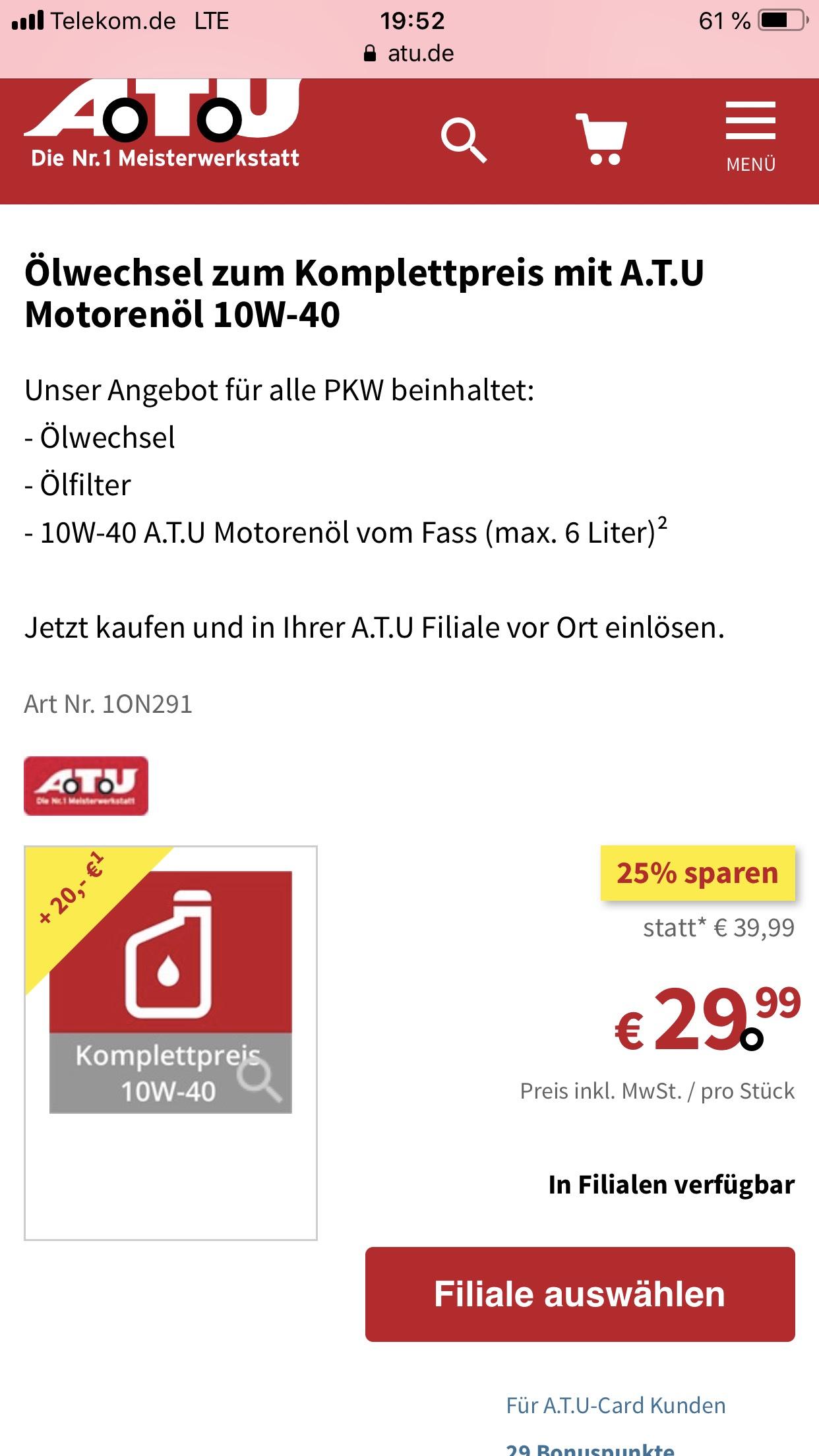 ATU ÖL Wechsel + Filter und 20 Euro Gutschein