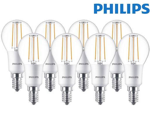 8x Philips dimmbare LED Classic E14-Leuchtmittel (5 Watt, 470 Lumen, 2700 K, warmweiß) [iBOOD]