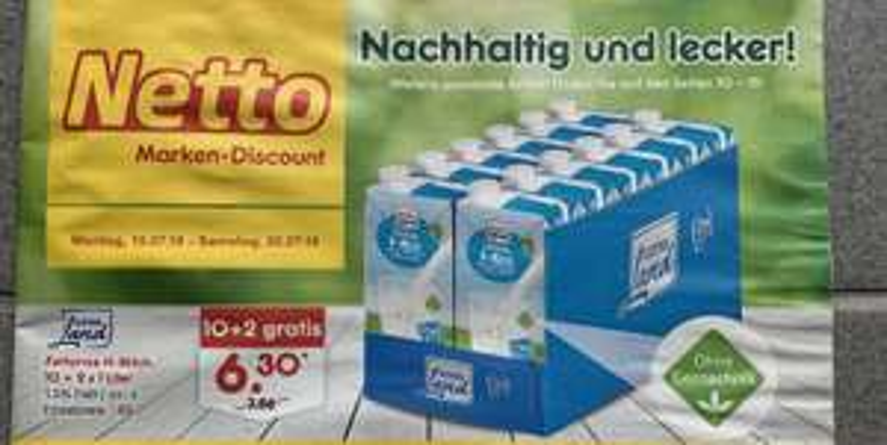 [Netto MD]- Fettarme H-Milch 12×1 Liter für 6.30€ (0,53€ / Liter) ab 15.07.2019