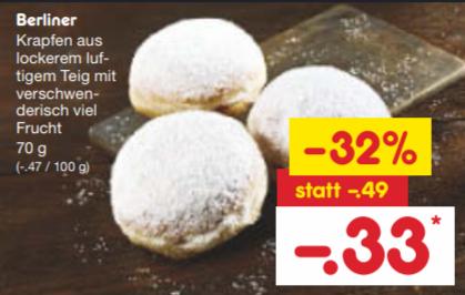 [Netto] Berliner bzw. Krapfen mit Frucht Creme Füllung pro Stück 33 Cent