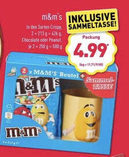[ALDI] m&m Sammeltasse + 2x m&m's Beutel (426/500g) für 4,99€
