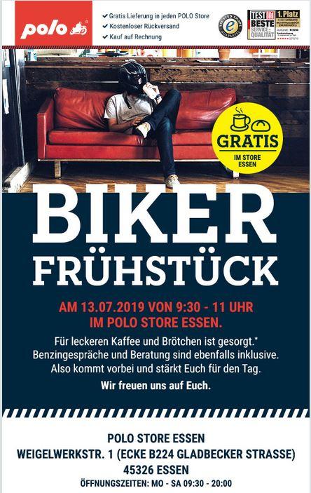 Update: [Lokal Essen + Wiesbaden] Polo Motorrad spendiert am Samstag gratis Brötchen und Kaffee beim Bikerfrühstück