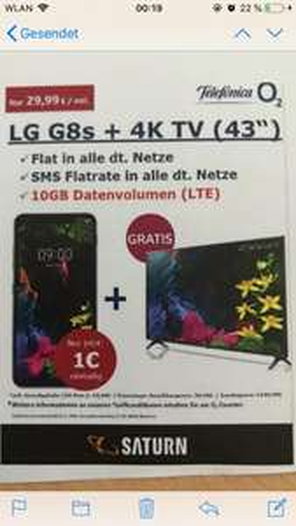 [Lokal]Saturn Bergisch Gladbach LG G8s (128GB) + 4K-Fernseher (PVG 394€) für 1€ ZZ im o2 Free M (Flat Tel + SMS + 10 GB LTE) mtl. 29,99€