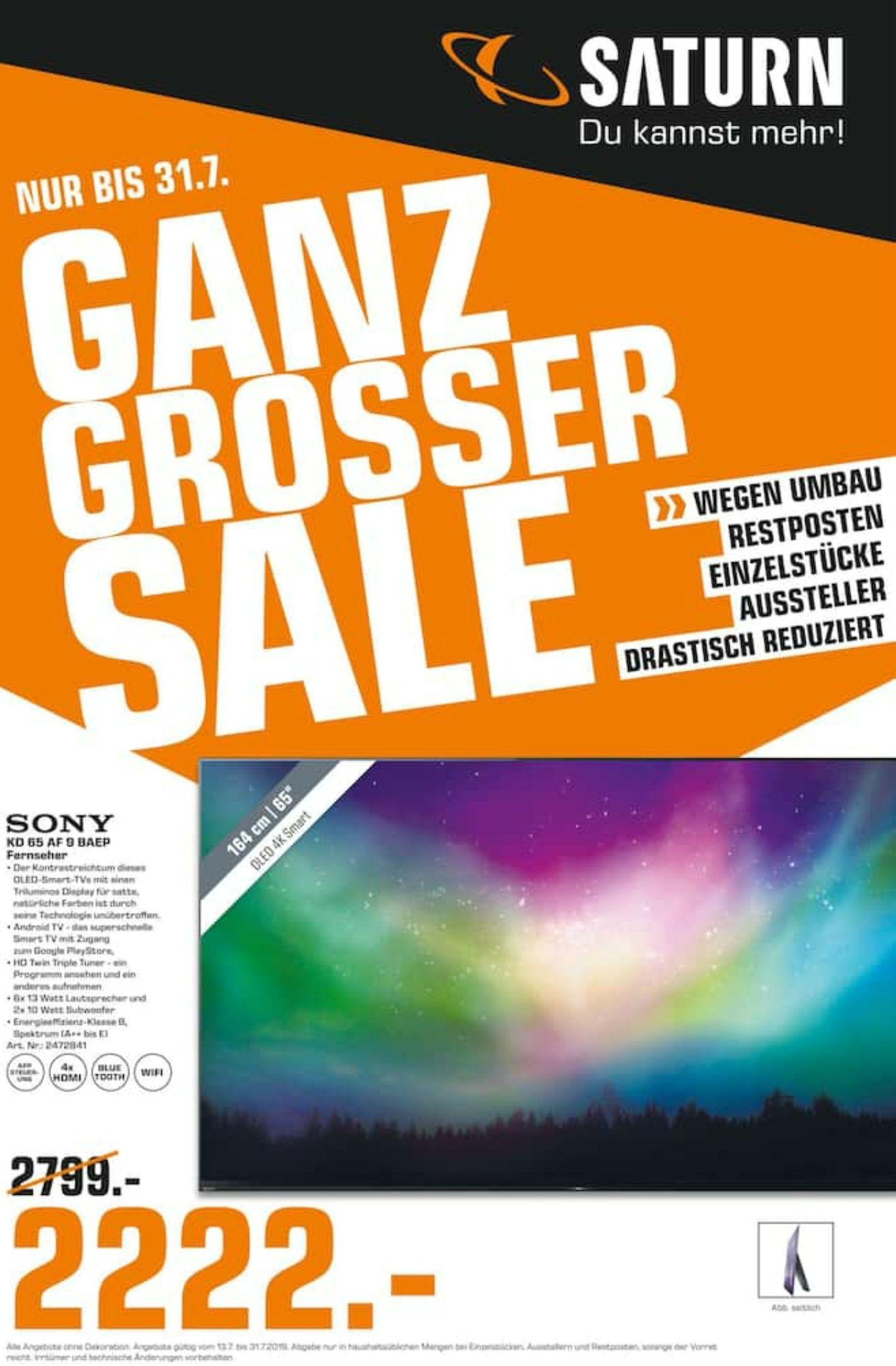 """[Saturn Nürnberg] Sony 65AF9 65"""" 4K Dolby Vision OLED Restposten kein Aussteller"""
