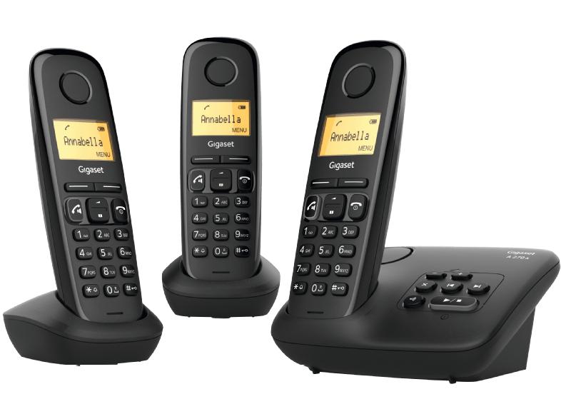 Gigaset A270A Trio Telefon mit Anrufbeantworter (DECT-Telefon, Gesprächszeit 18h, Freisprechfunktion)