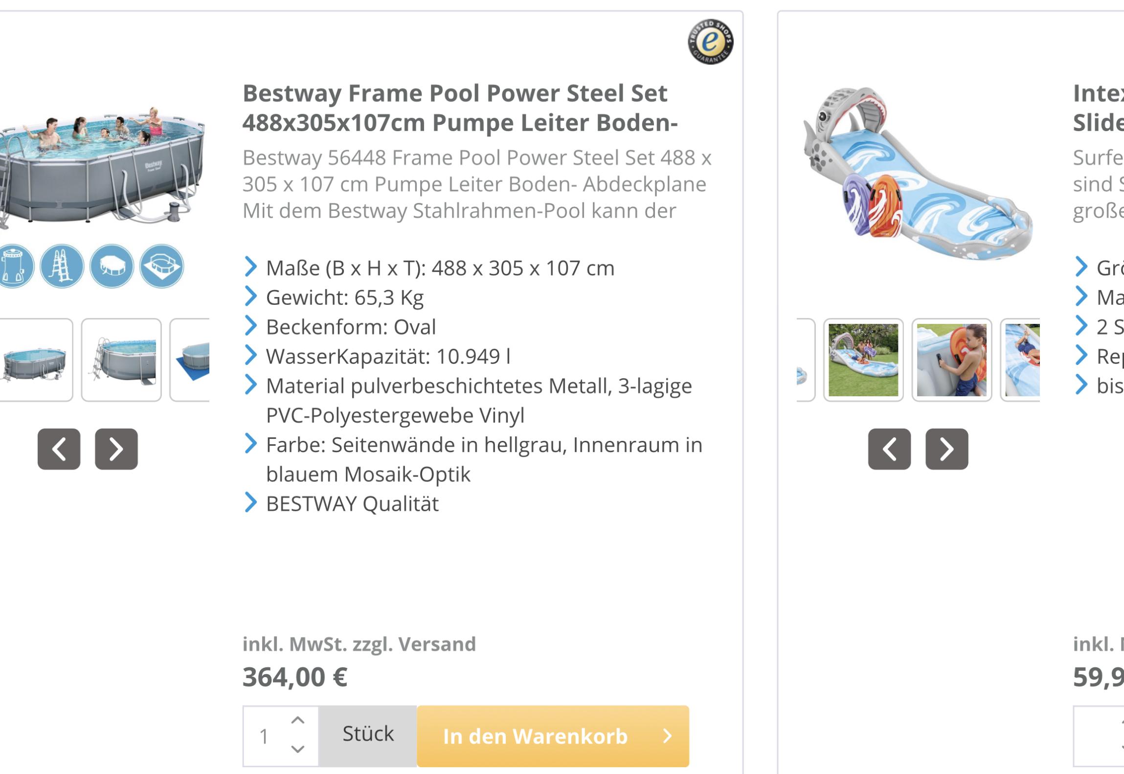 Bestway Pool  - oval 488x305 zum absoluten Bestpreis