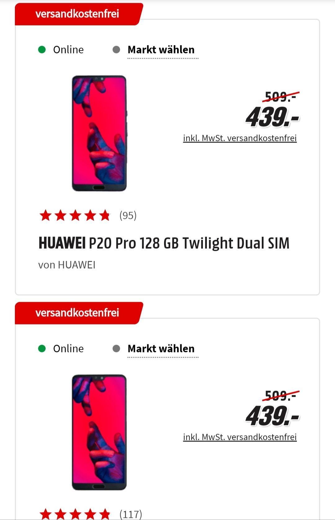 Huawei P20 pro für 439€