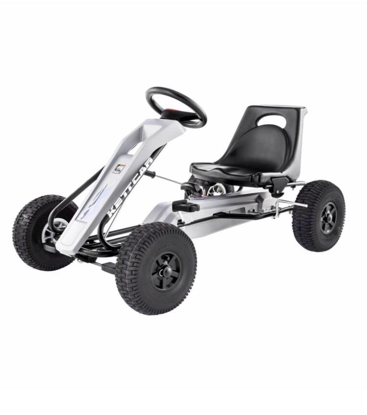 Kettler Kettcar Turin Air - Pedal-Rennwagen | mit Luftbereifung, Handbremse und zuschaltbarem Freilauf (grau/schwarz)