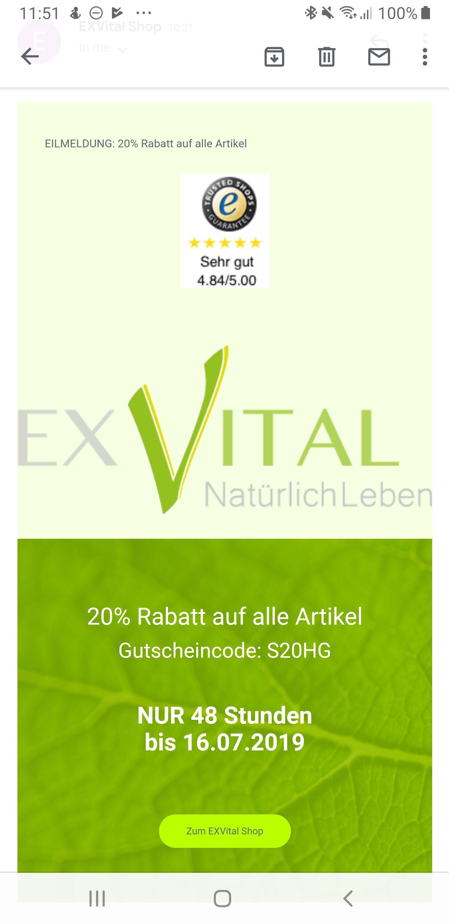 ExVital-Onlineshop: 20% auf alles + VSK-Frei