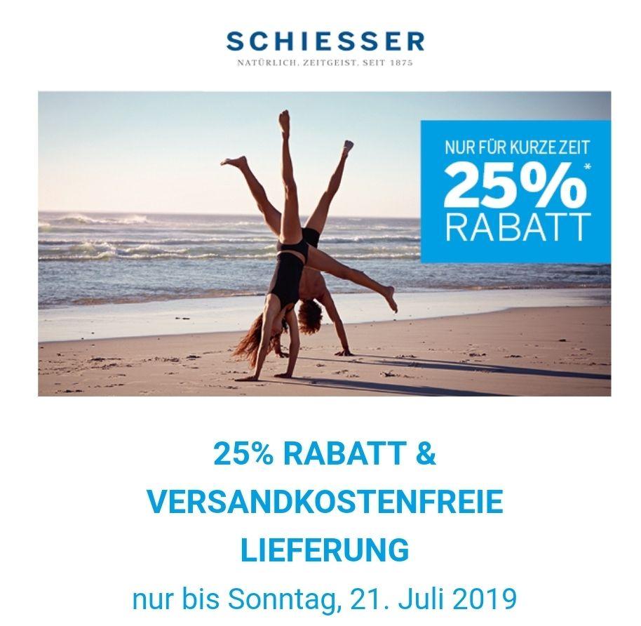 [Schiesser] 25% Rabatt auf das gesamte Sortiment MBW 40€