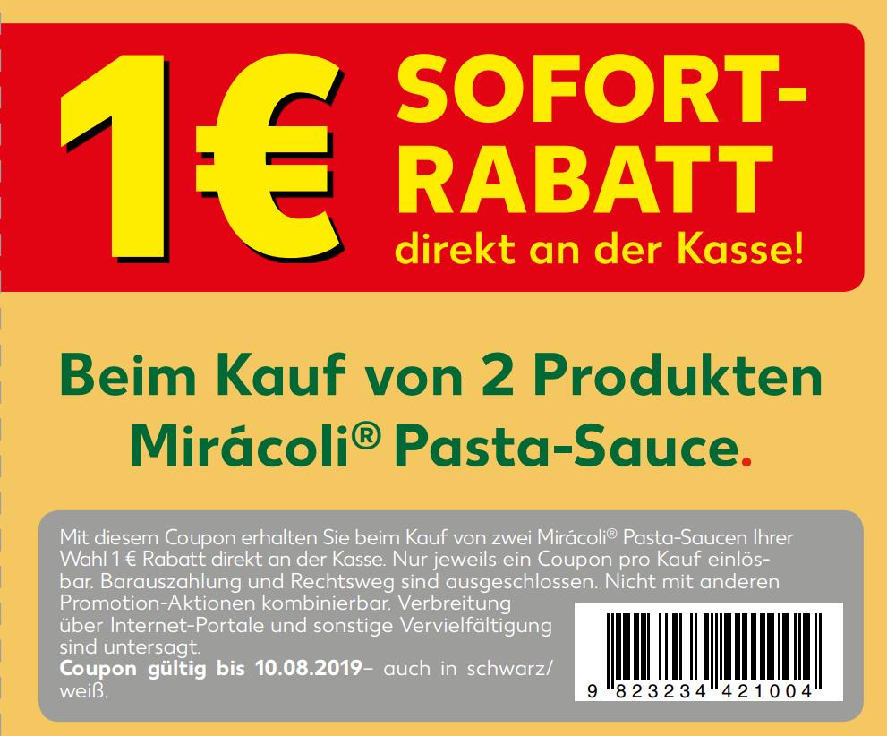 1,00€ Sofort-Rabatt für 2 Gläser Miracoli Pasta Saucen bis 10.08.2019 zum Ausdrucken [Kaufland]