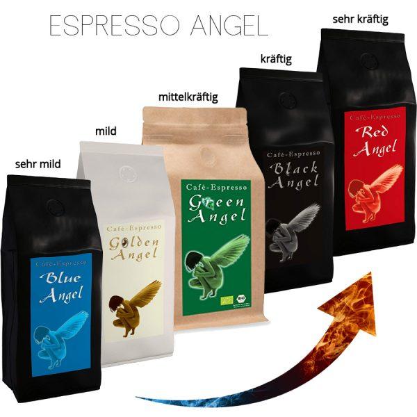 Espresso Probierset - 5kg! Von sehr mild bis sehr kräftig.