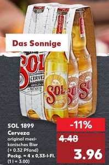 [Kaufland bis 17.07] Sol Mexican Beer 4-Pack für effektiv 2,96€ + Soltragetasche gratis per Post (Angebot,Coupies,Aktion)