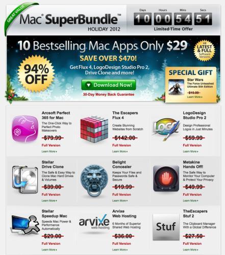 Mac SuperBundle Holiday 2012 mit Flux 4 und 9 weiteren  Apps für 29$ (22,32€) – 94% gespart