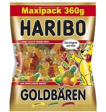 360g MAXIPACK Haribo Goldbären, Color-Rado, Phantasia und Tropifrutti nur 0,26€ pro 100g bundesweit bei Aldi