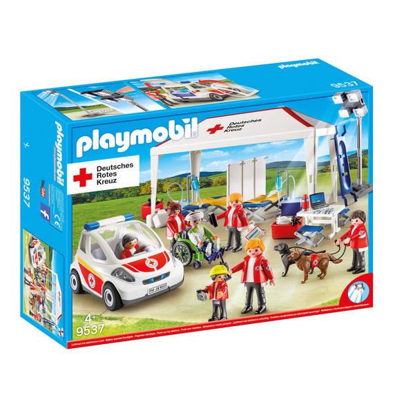 PLAYMOBIL - Deutsches Rotes Kreuz, DRK Versorgungszelt mit Notarzt-Einsatzfahrzeug 9537