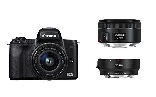 [Amazon Prime]Canon EOS M50 schwarz EF-M 15-45 + EF Adapter + EF 50 1.8 Kit