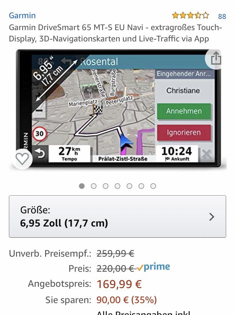 Garmin Drivesmart 65 LMT-S bei Amazon große Navi mit WLAN Sprachsteuerung usw.