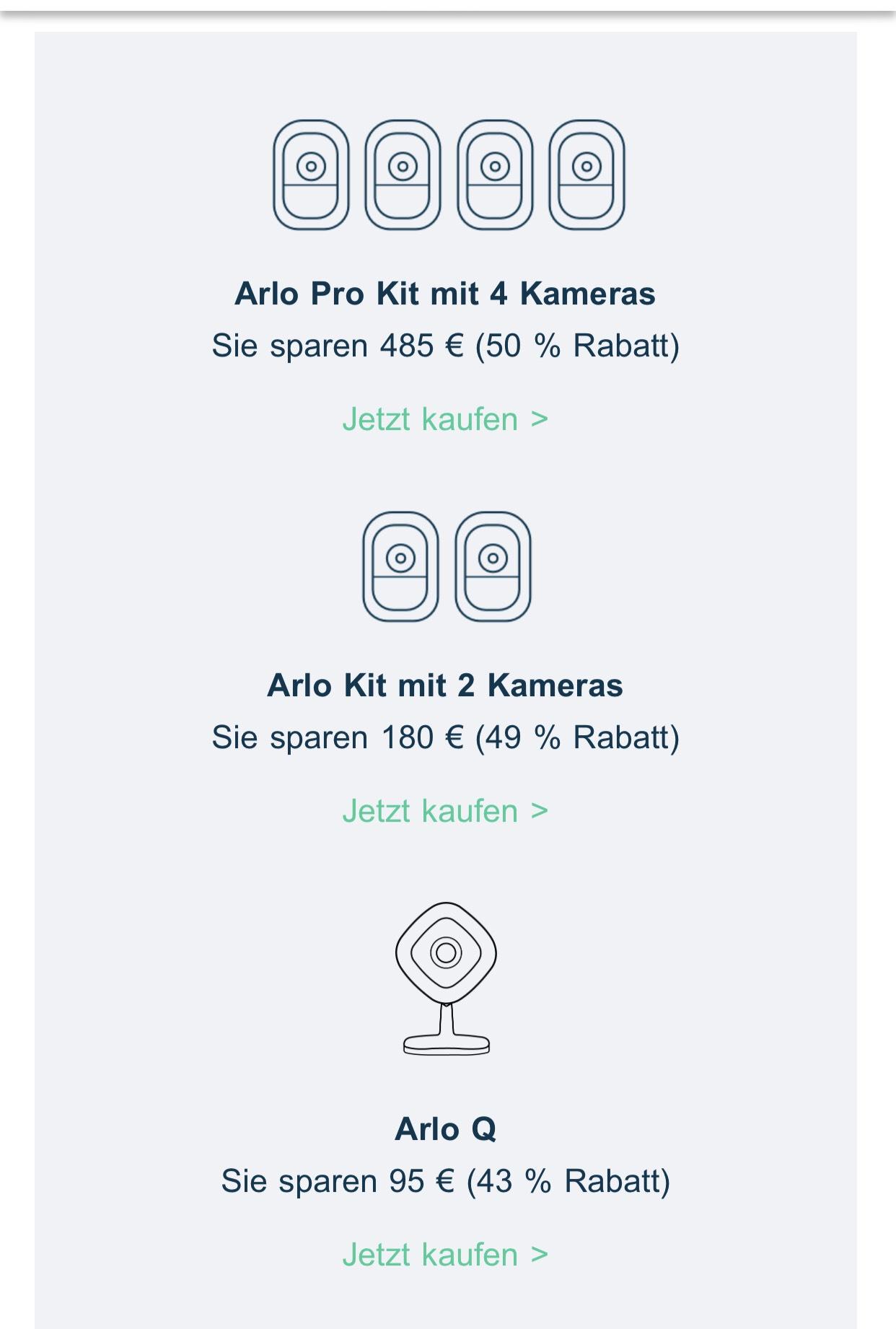 [Amazon Prime] Arlo Produkte reduziert, z.B. Set mit 4 Kameras für 485,-