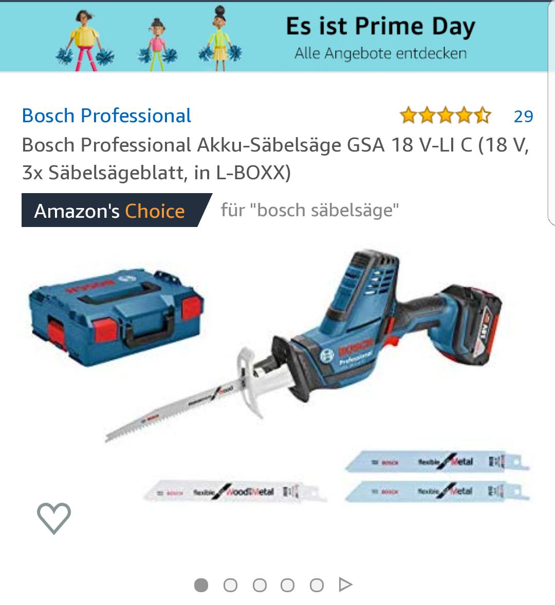 [Prime] Bosch Professional Akku-Säbelsäge GSA 18 V-LI C (18 V, 3x Säbelsägeblatt, in L-BOXX)