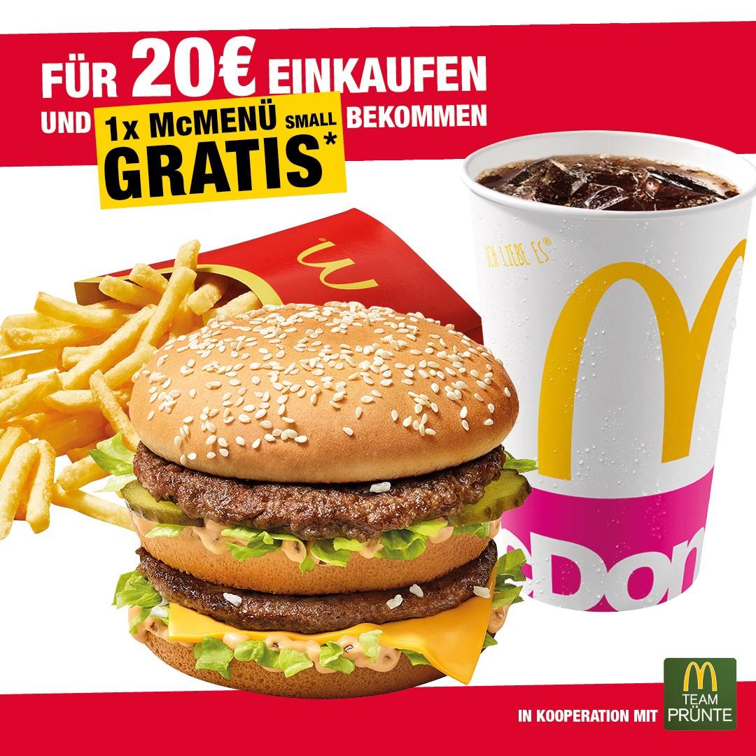 [LOKAL, ESSEN UND UMGEBUNG] Für 20€ bei Woolworth einkaufen und McMenü Small bei McDonalds gratis bekommen