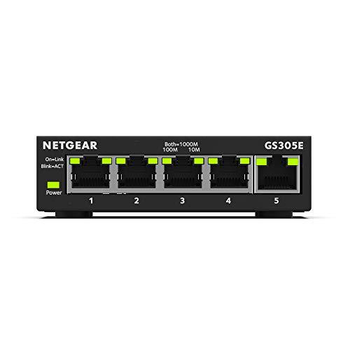 Amazon Prime Day: Netgear GS305E 5 Port LAN Gigabit Ethernet Switch (Smart Managed Plus Netzwerk-Switch, lüfterlos)