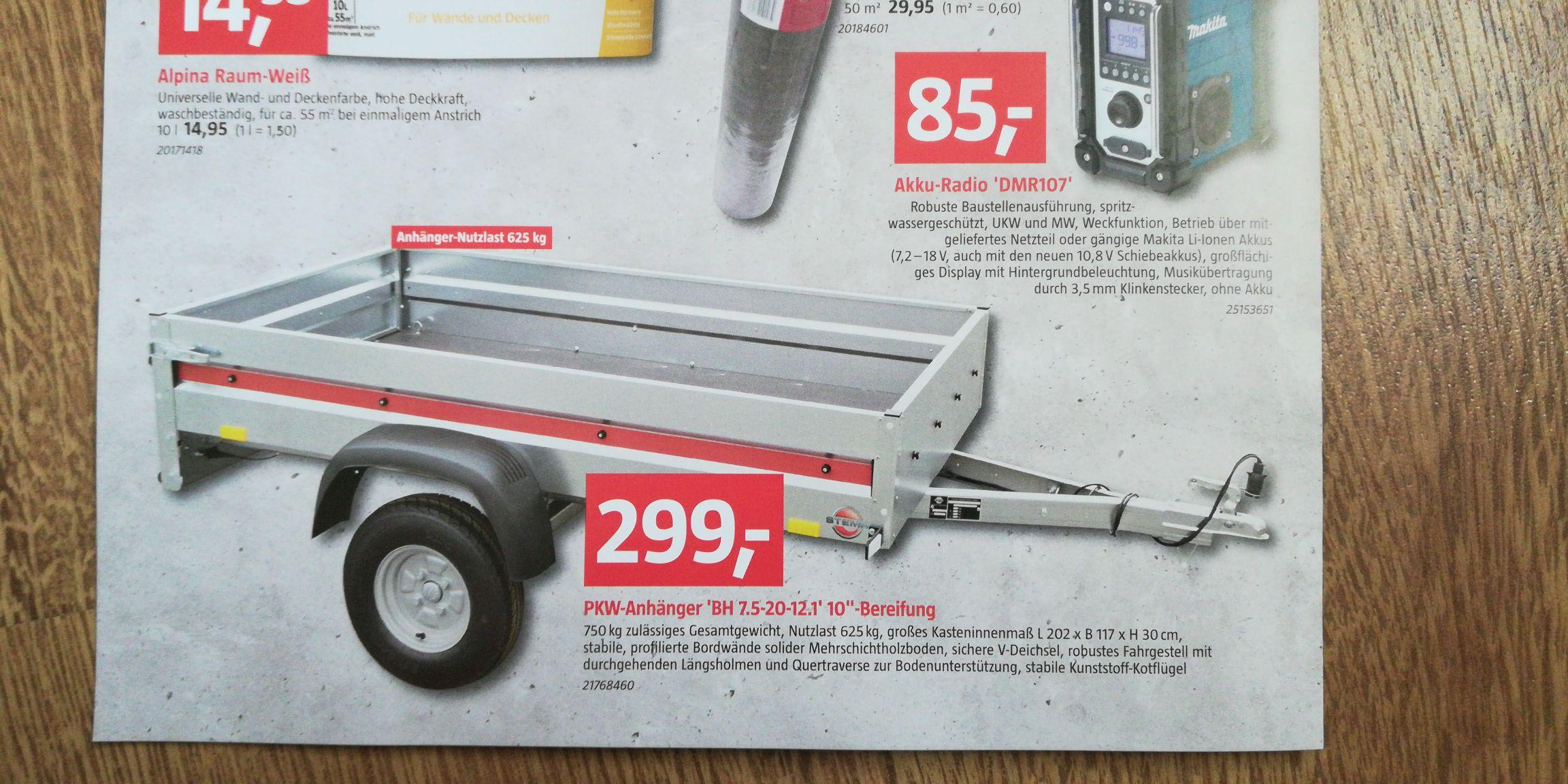 [Bauhaus Cottbus] Stema PKW Anhänger 750 KG / 625 KG Nutzlast Stahl verzinkt