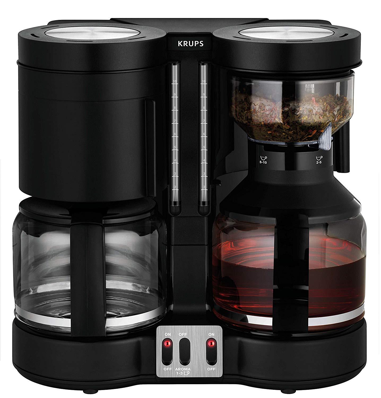 Krups Duothek Plus Kombi-Kaffee-/Teemaschine (1100W, 2 Brühsysteme, 2 Schwenkfilter, 2 Glaskannen, Zubehör für Teezubereitung)