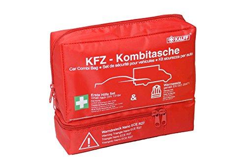 KALFF KFZ-Kombitasche TRIO Compact, inkl. Warnweste und Warndreieck, mit Erste-Hilfe Broschüre[Amazon Prime Day]