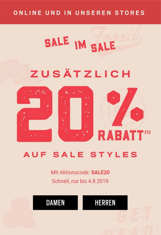 Fossil 20% Auf Sale/Outlet Artikel + 15% Newsletter + 5% Shoop