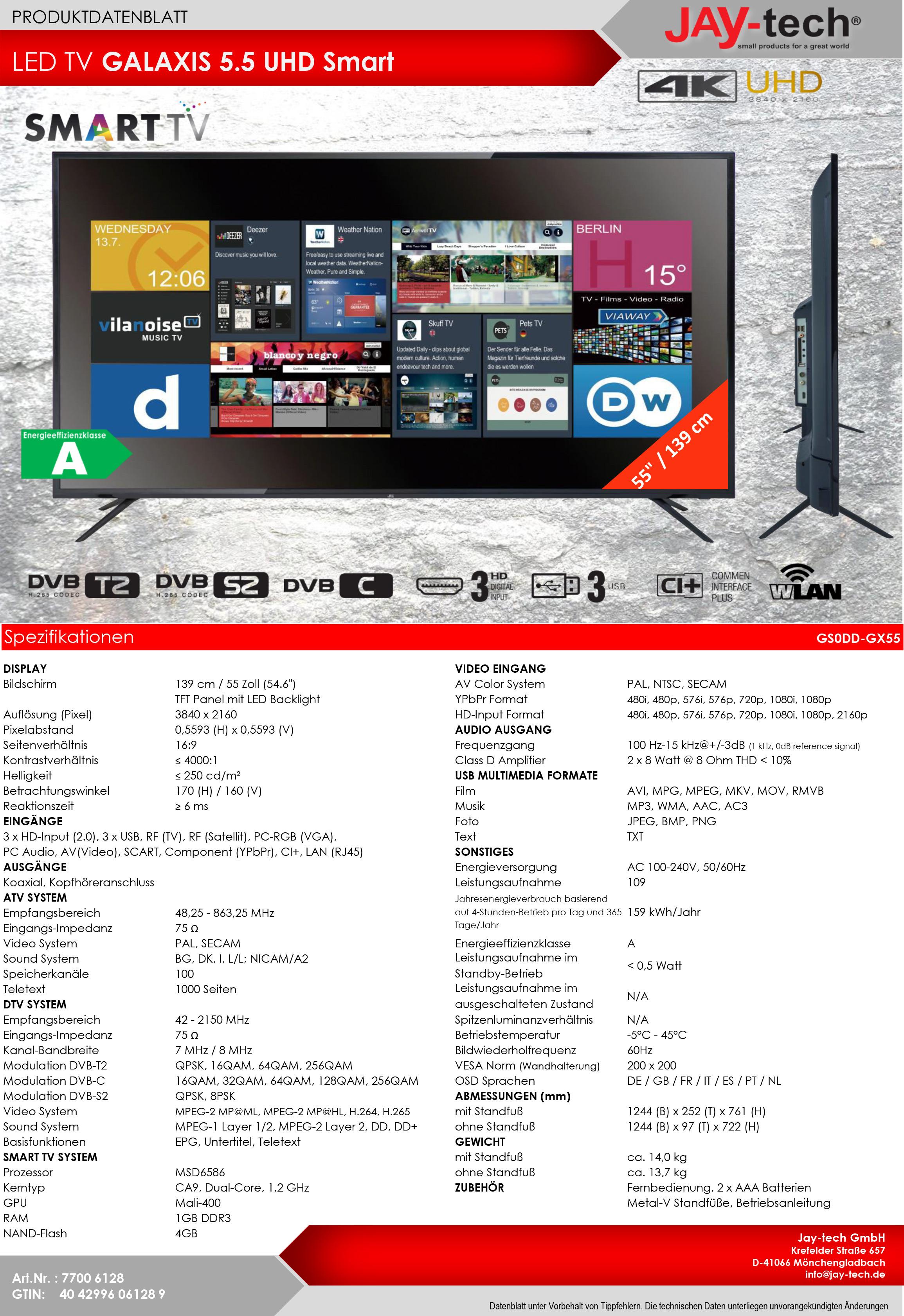 55 Zoll Ultra HD Fernseher Smart TV Scart VGA z.B. als PC Monitor von JTC Jay-Tech Galaxis 5.5