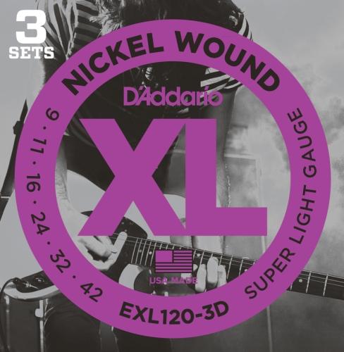 D'Addario EXL120-3D  E-Gitarresaiten .009 - .042 Super Light (3er Pack)