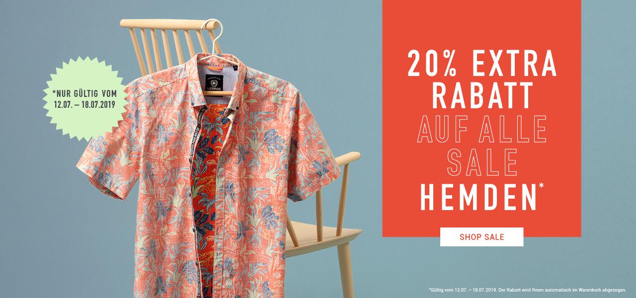 20% Extra Rabatt auf Sale Hemden (auch große Größen) z.B. Baumwoll-Leinen Langarm