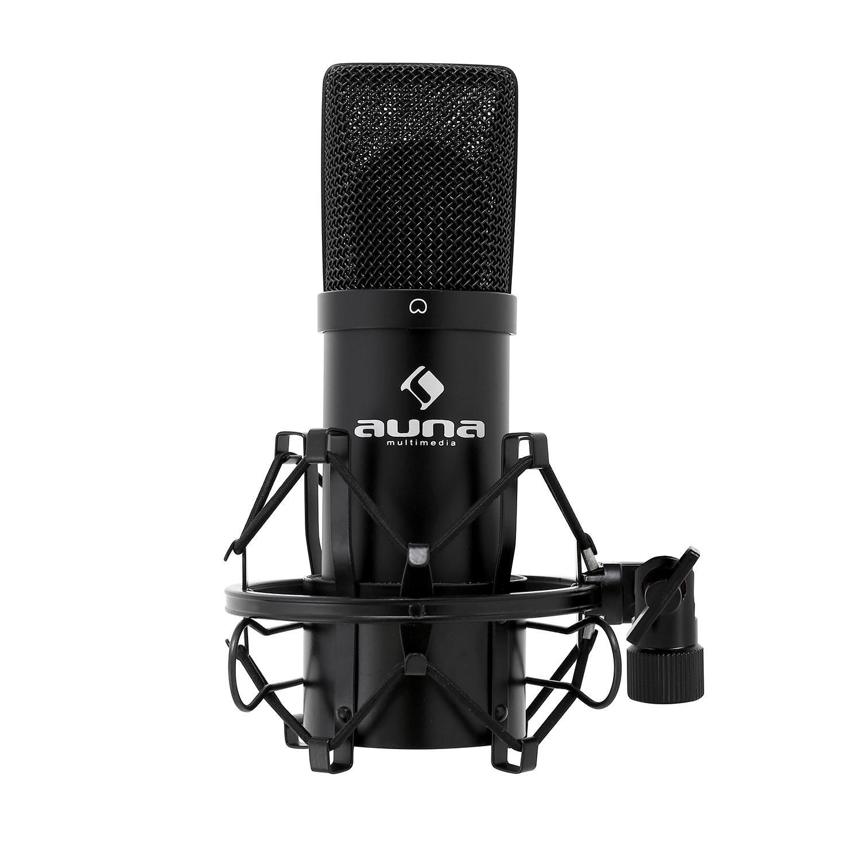 Auna MIC-900B USB Kondensator Mikro für Studio-Aufnahmen inkl. Spinne (16mm Kapsel, 320Hz - 18KHz) schwarz + 5€ Pantry Gutschrift