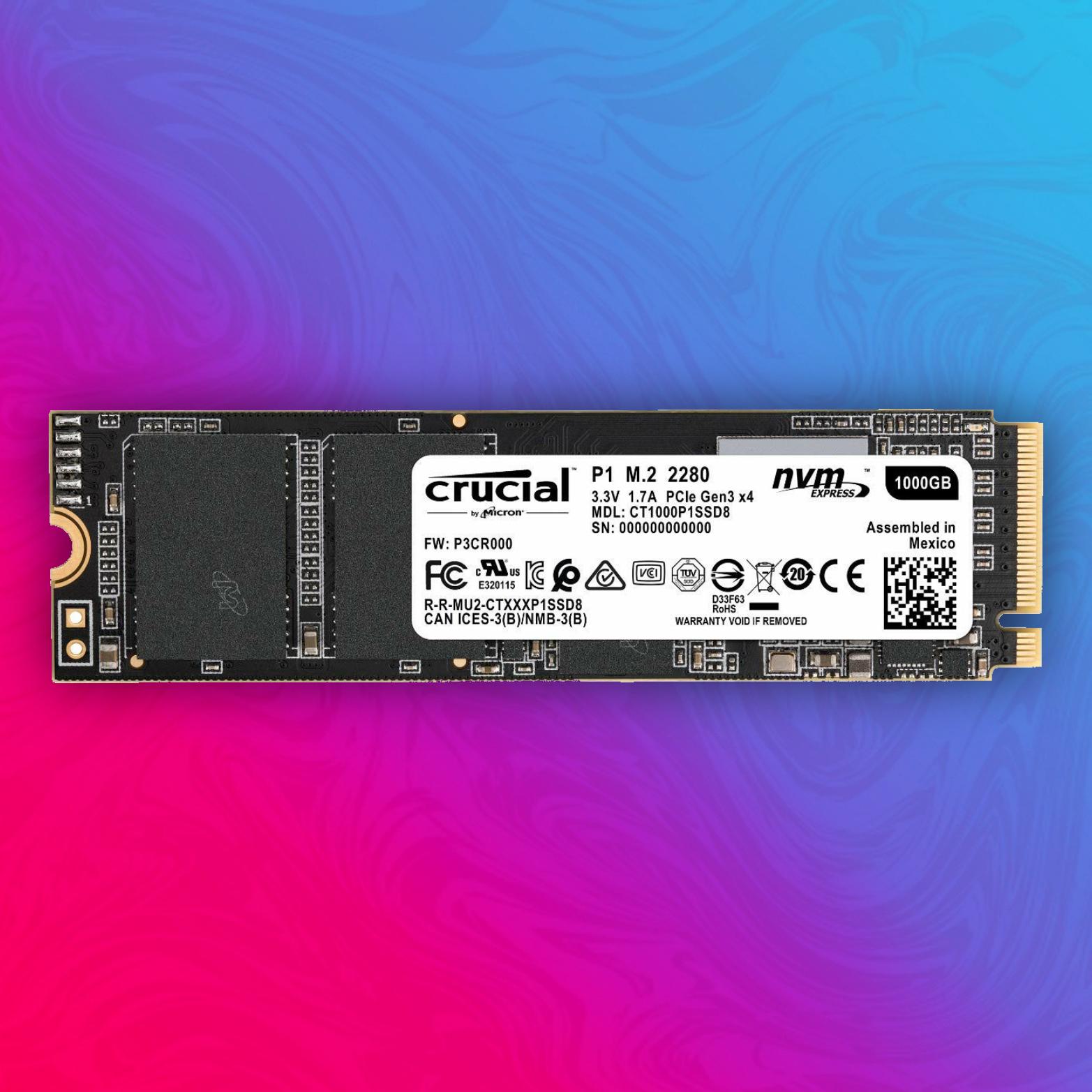 Crucial P1 1TB SSD (M.2, PCIe 3.0 x4, 3D-NAND QLC, R:2000MB/s, W:1700MB/s) [Amazon Prime]
