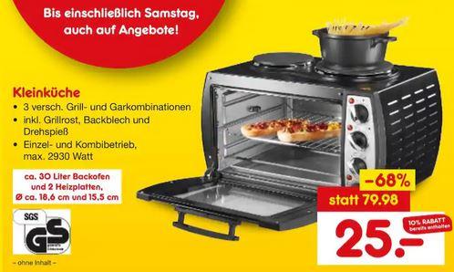 [Lokal - Netto Marken-Discount Chemnitz] Efbe Schott MK1000B Kleinküche schwarz, 2 Kochplatten und 26 Liter Backofen für 25€