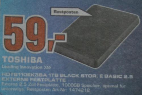 "[lokal] 2,5"" Toshiba Stor.E Basics USB 3.0 1TB Externe Festplatte HDTB110EK3BA @ Saturn Aachen für EUR 59,00"