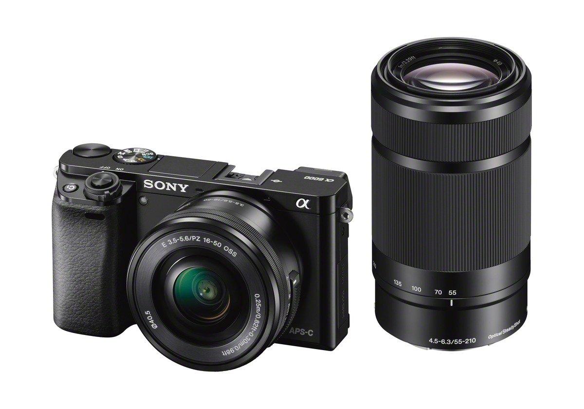 Sony Alpha 6000 Kamera Kit SEL-P 16-50 mm + SEL 55-210 mm schwarz + 50€ Cashback (Prime)