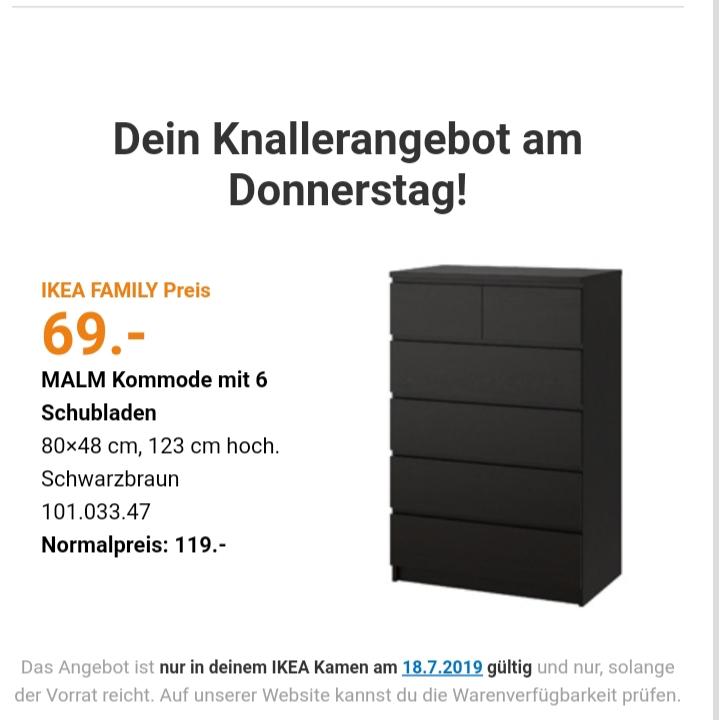 [Lokal - Ikea Kamen] MALM Kommode mit 6 Schubladen, schwarzbraun, 80x123 cm nur am 18.Juli für 69€